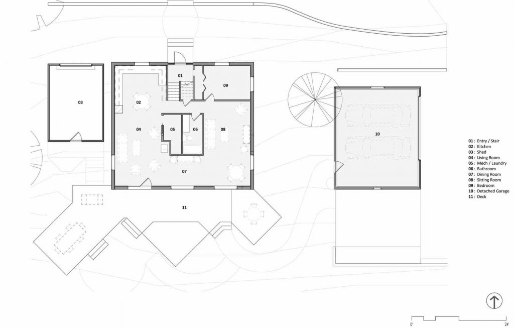 Existing Floor Plan - Lakeside Modern Cottage (H-LODGE) - Unionville, Indiana, Lake Lemon - HAUS Architecture