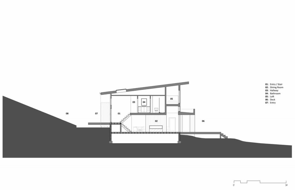 Section Diagram - Lakeside Modern Cottage (H-LODGE) - Unionville, Indiana, Lake Lemon - HAUS Architecture