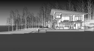 3D Section Diagram - Lakeside Modern Cottage (H-LODGE) - Unionville, Indiana, Lake Lemon - HAUS Architecture