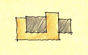 Parti Diagram (Design Concept) - Lakeside Modern Cottage (H-LODGE) - Unionville, Indiana, Lake Lemon - HAUS Architecture