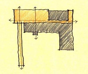 Parti Diagram - Bridge House - Fenneville, Michigan - Lake Michigan - design concept sketch