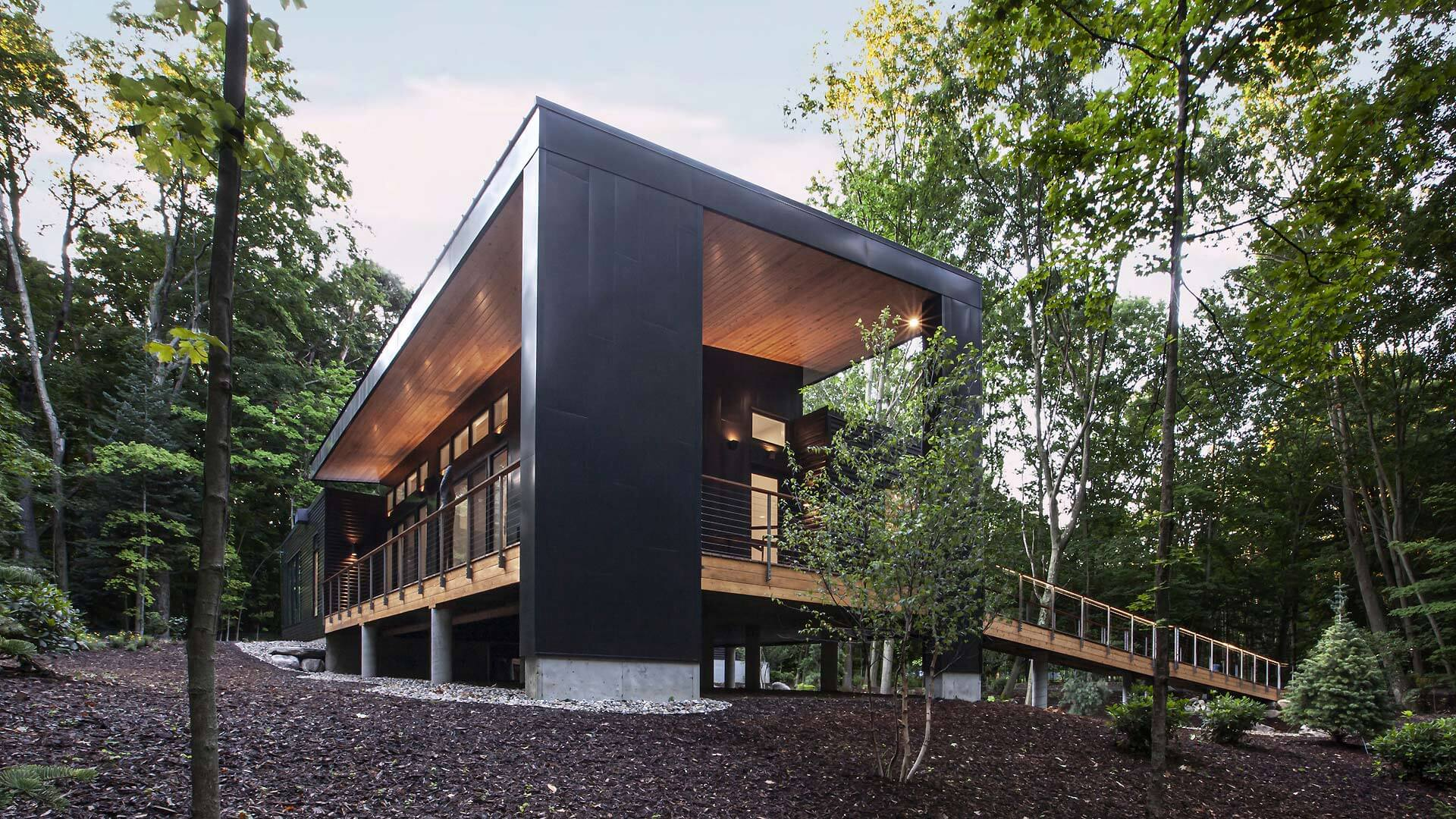 Entry Pier and West Porch overlook Pier Cove Valley - Bridge House - Fennville, Michigan - Lake Michigan - HAUS | Architecture For Modern Lifestyles