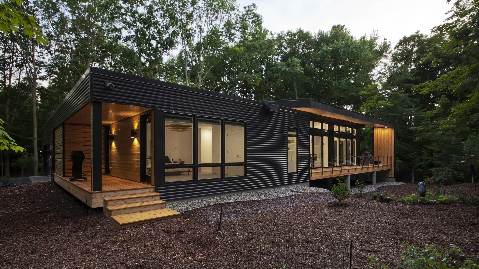 Northeast Exterior Elevation reveals grille deck + enclosed dog run - Bridge House - Fenneville, Michigan - Lake Michigan