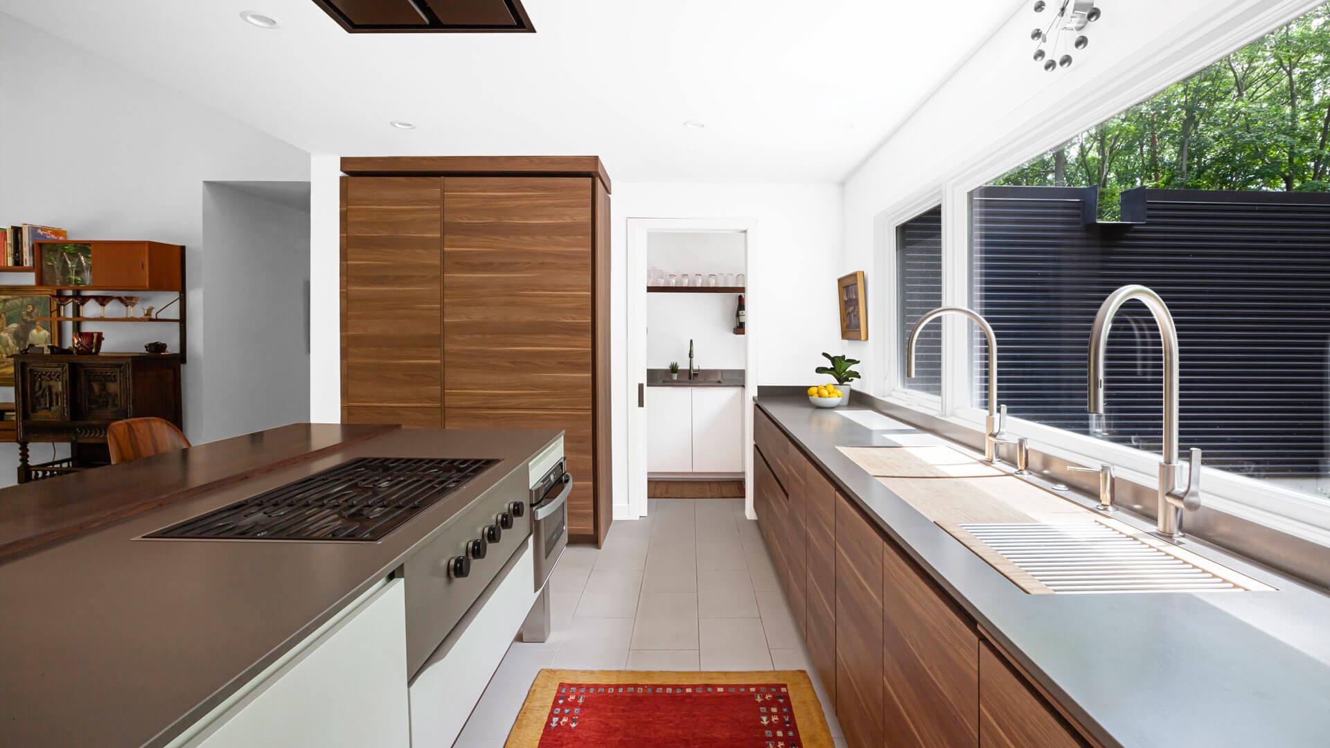 Modern Kitchen with view into Pantry - Bridge House - Fenneville, Michigan - Lake Michigan