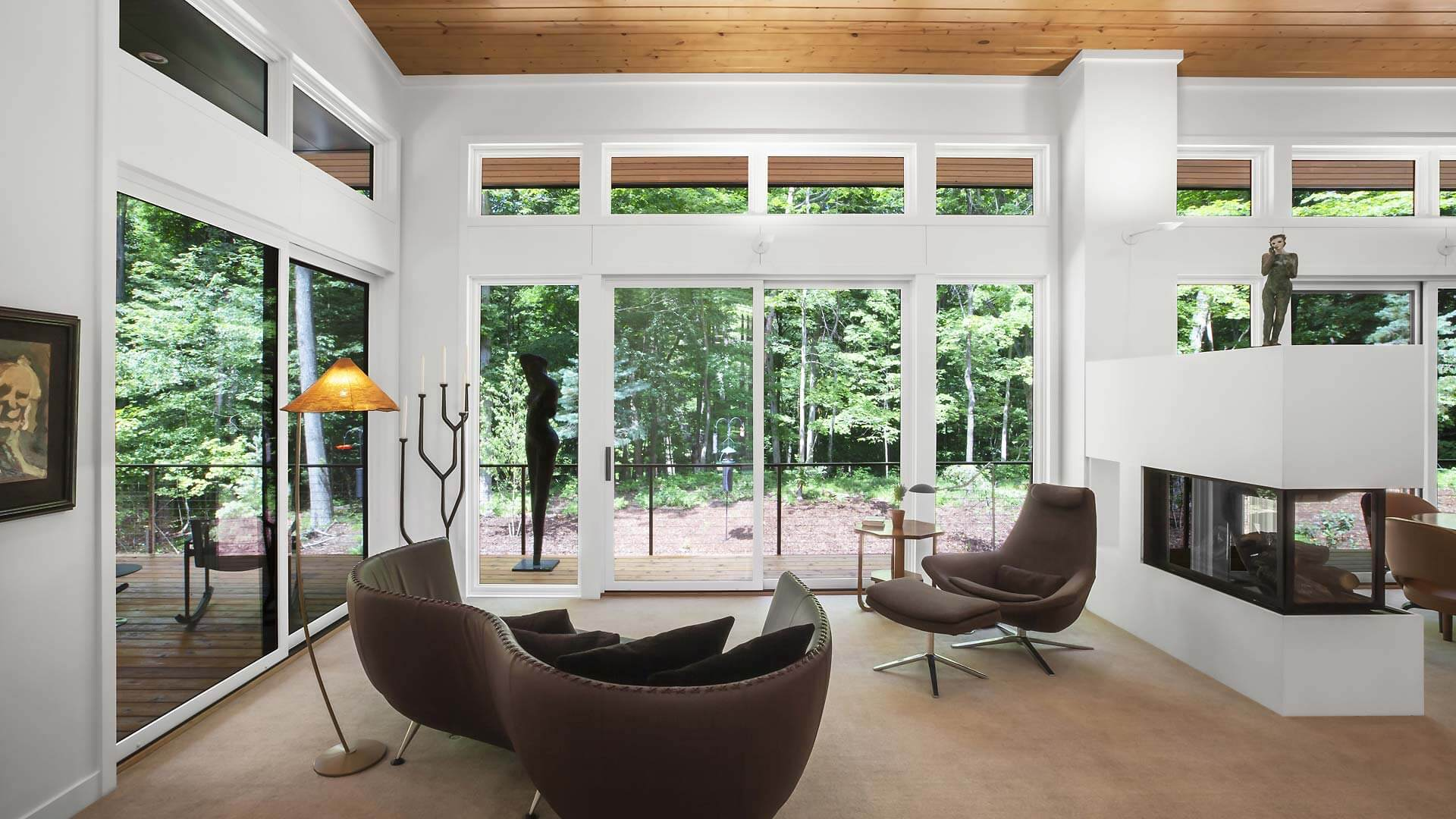 Open concept Living-Dining space optimizes natural light and panoramic views of Pier Cove Valley (photo view looking north) - Bridge House - Fenneville, Michigan - Lake Michigan