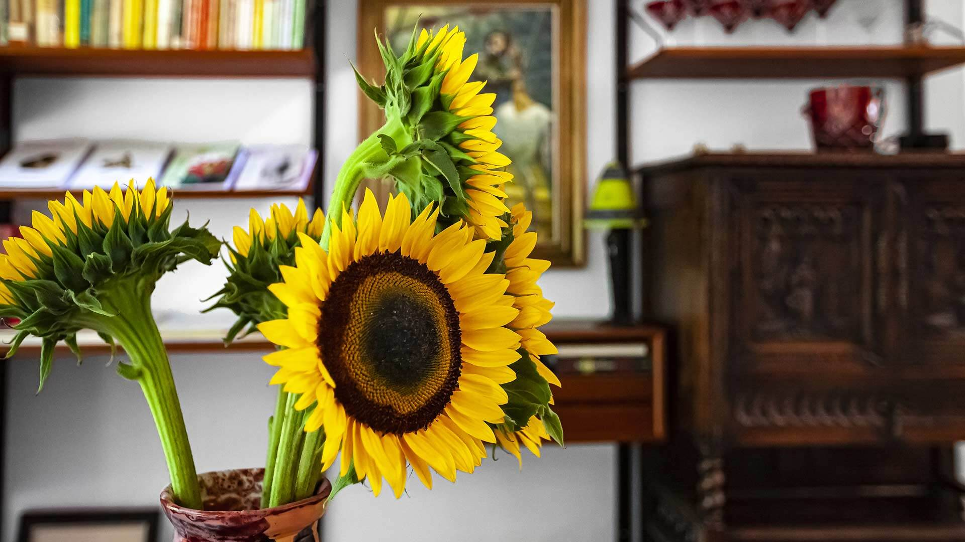Sunflowers highlight the east living/dining wall which includes a mix of antique and modern artifacts - Bridge House - Fennville, Michigan - Lake Michigan
