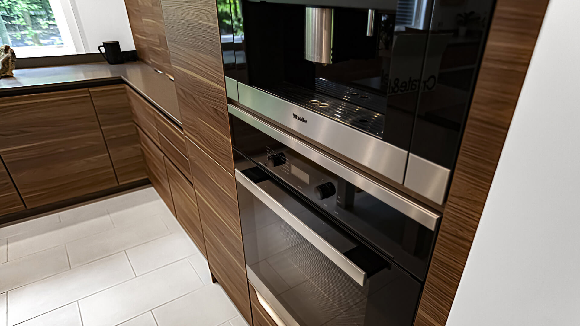 Miele Coffee Station + Wall Range Units integrate seamlessly into Leicht kitchen cabinetry - Bridge House - Fennville, Michigan - Lake Michigan