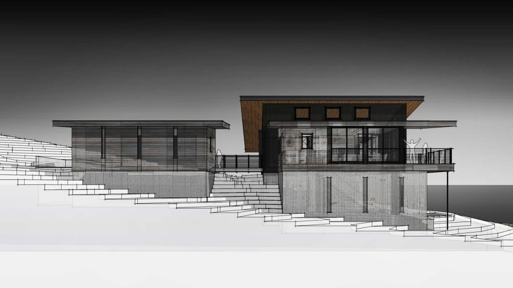 Side Exterior Elevation - Modern Lakeside Retreat - Grandview Lake - Columbus, Indiana - HAUS | Architecture