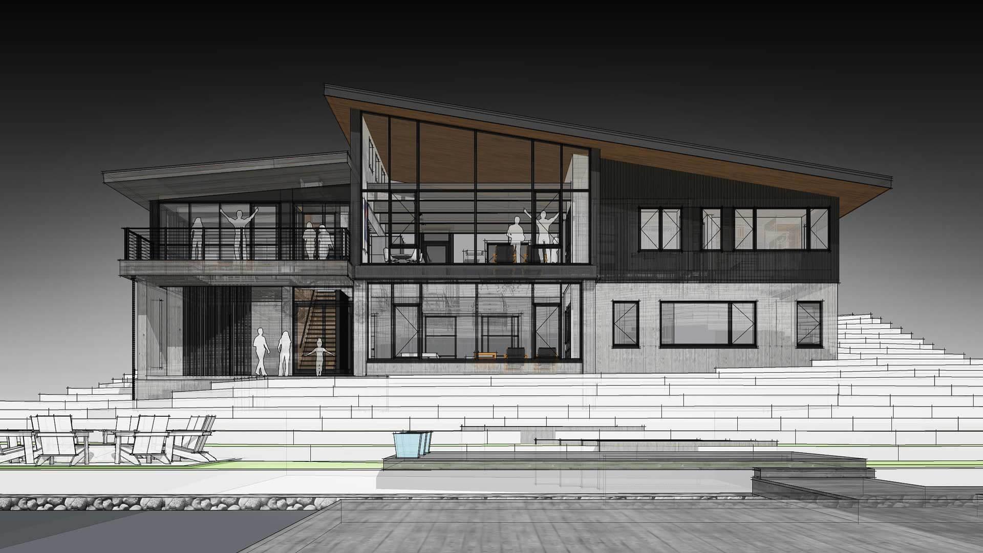 Lakeside Exterior Elevation - Modern Lakeside Retreat - Grandview Lake - Columbus, Indiana - HAUS | Architecture