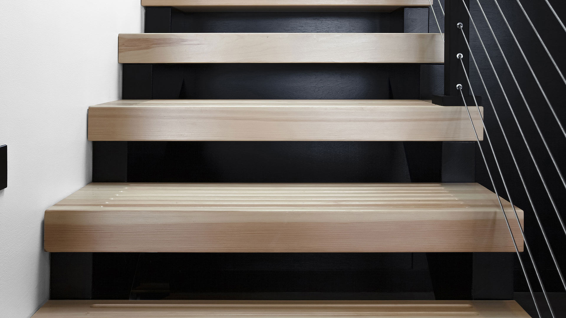 Open riser stair with treads clad in Eastern White Pine + Viewrail cable railing system - Lakeside Modern Cottage (H-LODGE) - Unionville, Indiana, Lake Lemon