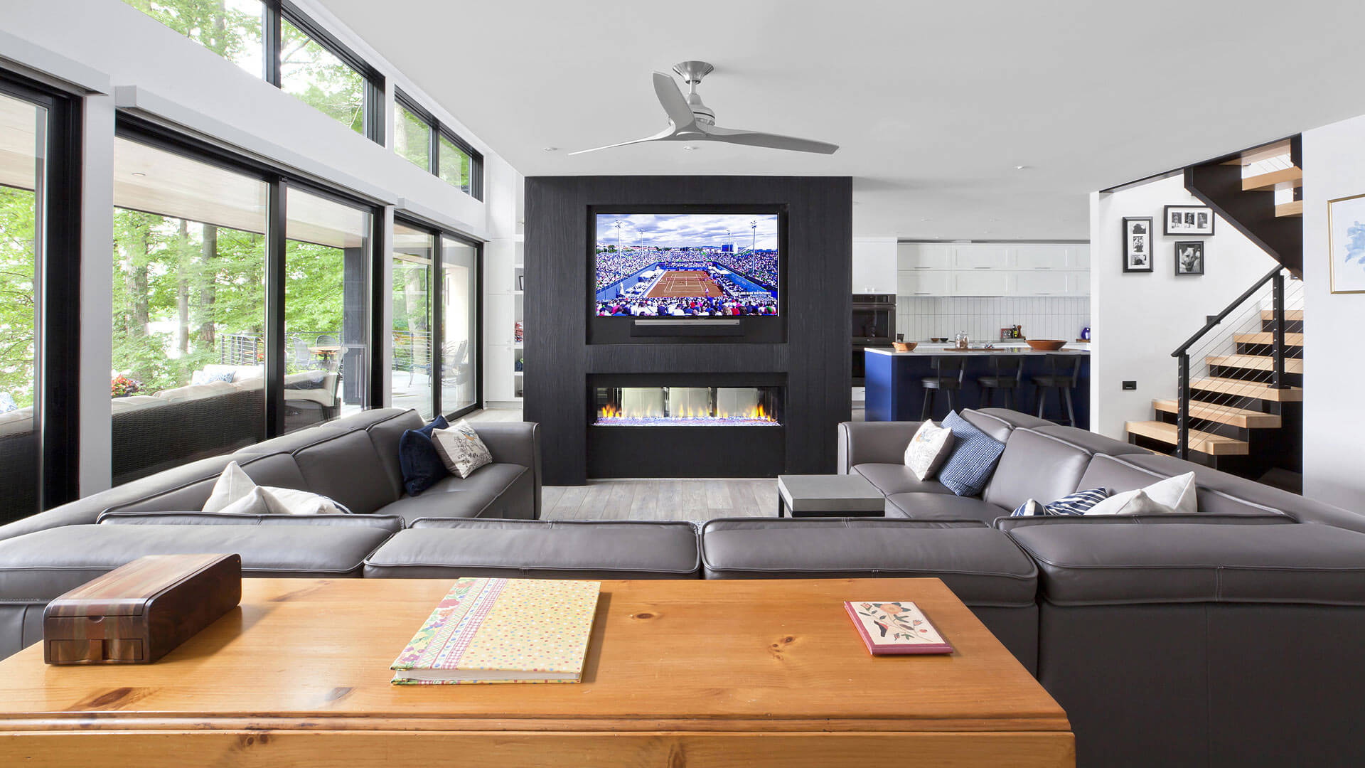 Open Concept Living + Dining + Kitchen - Lakeside Modern Cottage (H-LODGE) - Unionville, Indiana - Lake Lemon