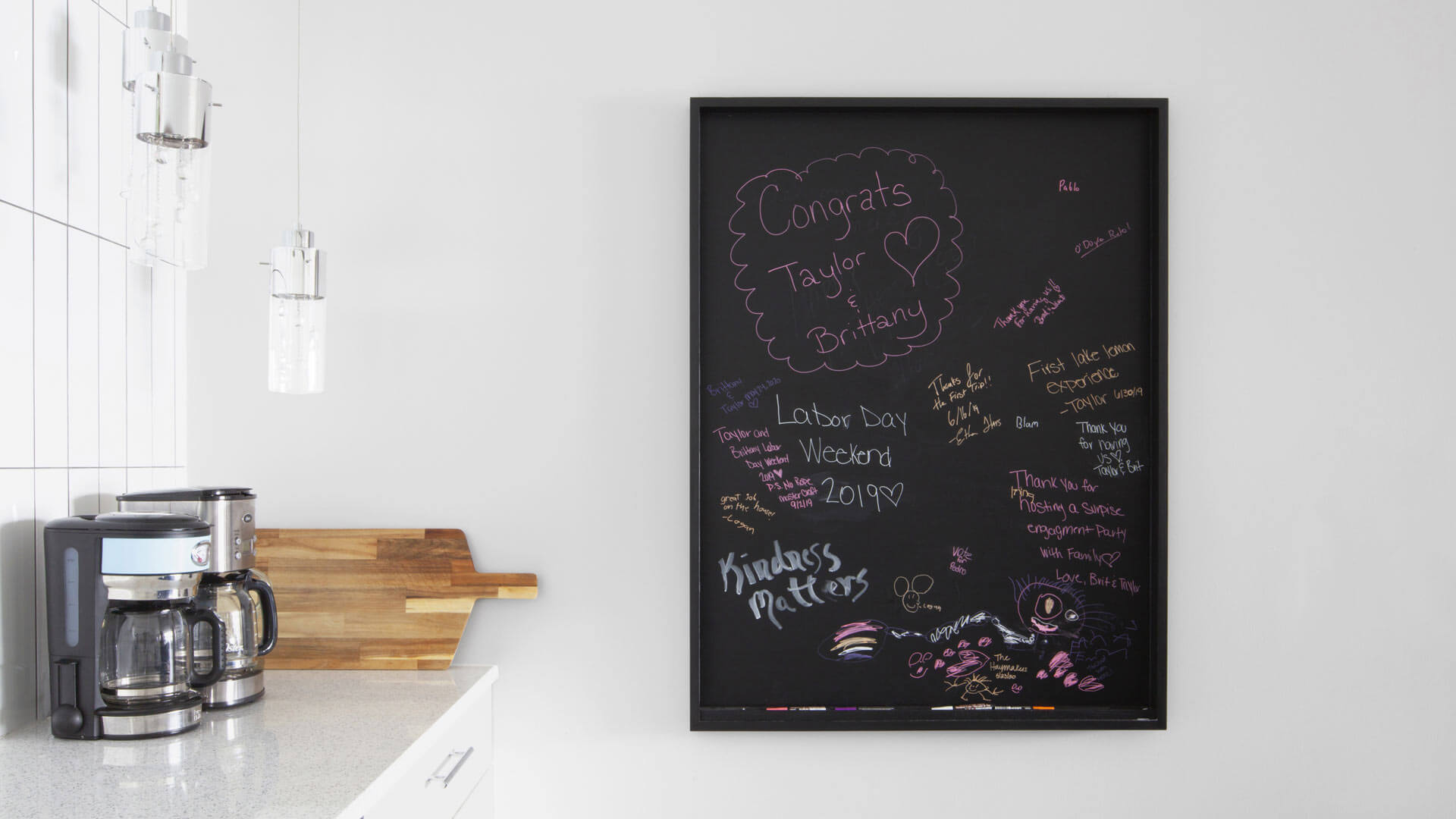 Kitchen Chalkboard + Beverage Station - Lakeside Modern Cottage (H-LODGE) - Unionville, Indiana, Lake Lemon