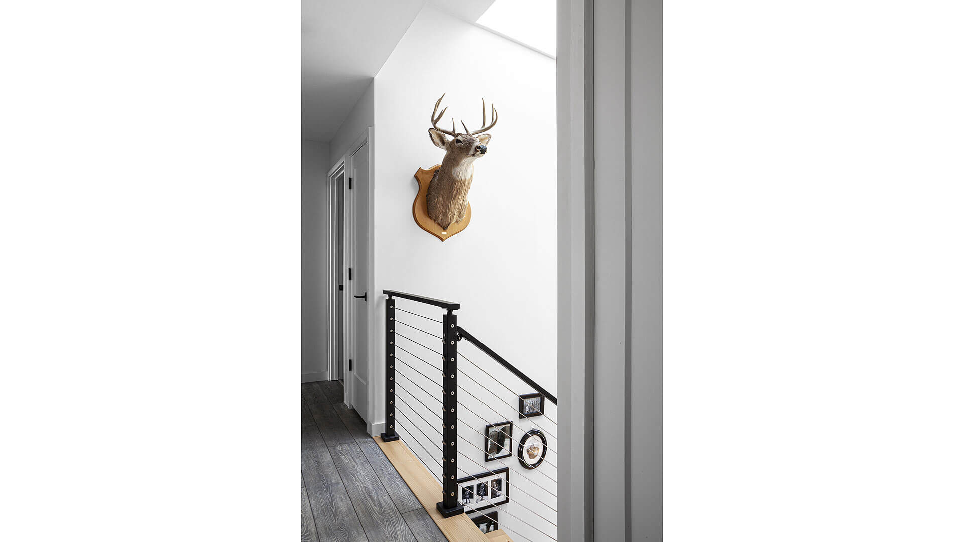 skylighted stair gallery integrates original lodge accessories (Viewrail) cable-rail system - Lakeside Modern Cottage (H-LODGE) - Unionville, Indiana, Lake Lemon