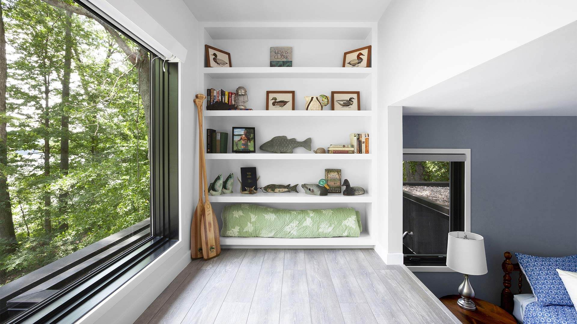 Bedroom loft overlooks lake and includes open shelves for lake themed accessories - Lakeside Modern Cottage (H-LODGE) - Unionville, Indiana, Lake Lemon