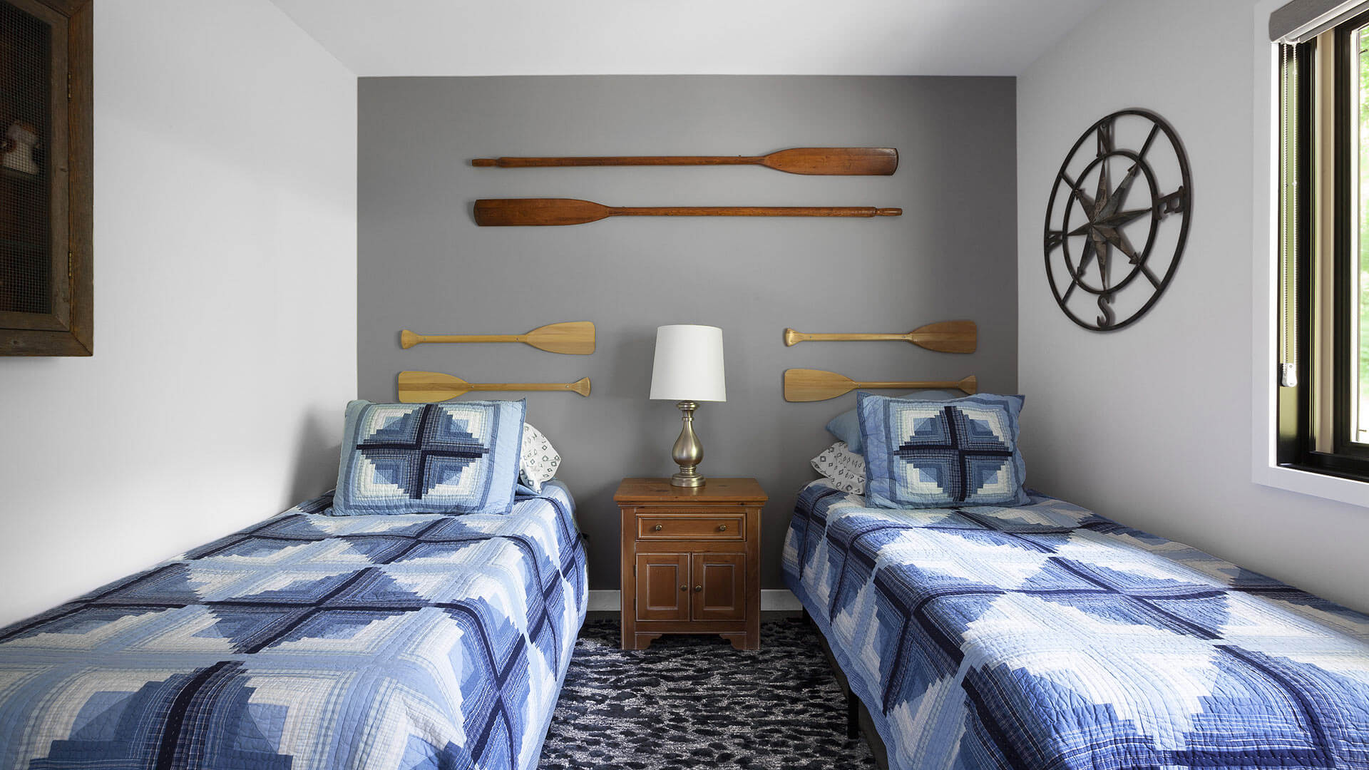 Guest Bedroom includes double twin beds and nautical themed accessories - Lakeside Modern Cottage (H-LODGE) - Unionville, Indiana, Lake Lemon