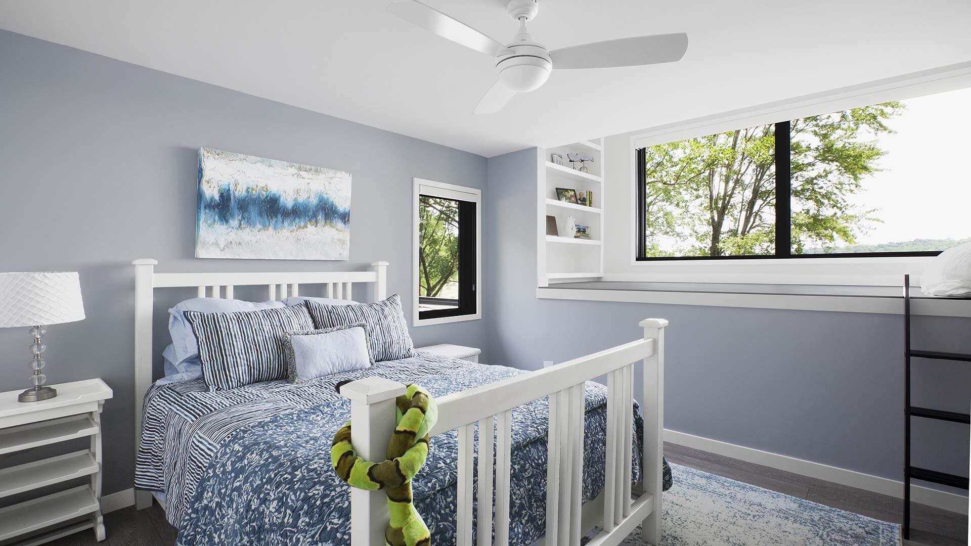 Guest Bedroom with Loft overlooks lakeside - Lakeside Modern Cottage (H-LODGE) - Unionville, Indiana, Lake Lemon