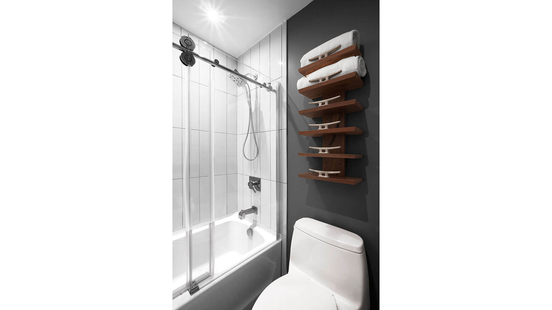Nautical-themed towel storage in guest bathroom - Lakeside Modern Cottage (H-LODGE) - Unionville, Indiana, Lake Lemon