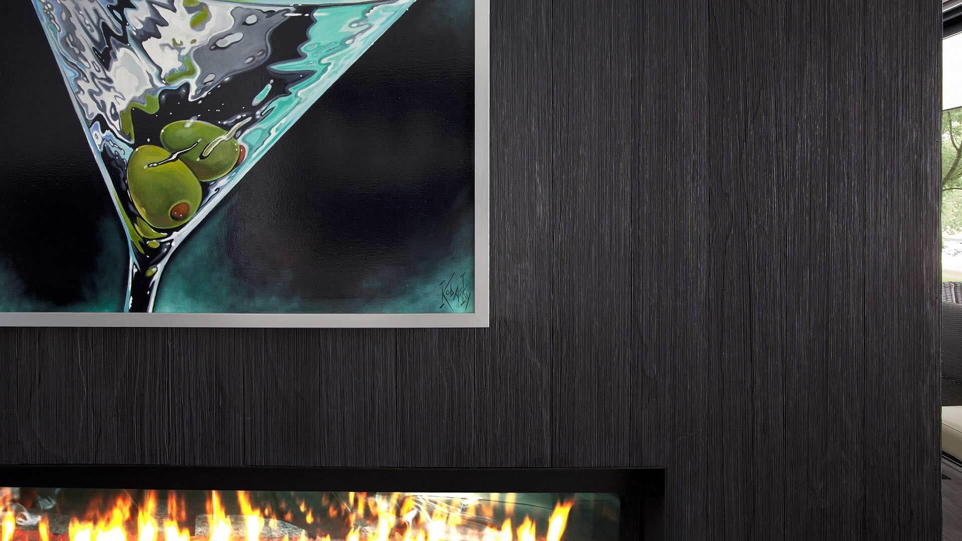 Charred Wood Fireplace Surround, Gas Fireplace, and Colorful Large Format Artwork (Martini Glass Inspired) - Lakeside Modern Cottage (H-LODGE) - Unionville, Indiana, Lake Lemon