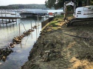Lakefront Retaining Wall Installation (corrugated steel) - Modern Lakeside Retreat - Grandview Lake - Columbus, Indiana