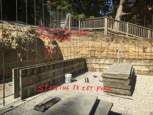 Basement wall formwork and rebar reinforcing work begins - Modern Lakeside Retreat - Grandview Lake - Columbus, Indiana
