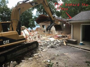 Existing House Demolition in full swing (garage stays to serve as a temporary office - Modern Lakeside Retreat - Grandview Lake - Columbus, Indiana