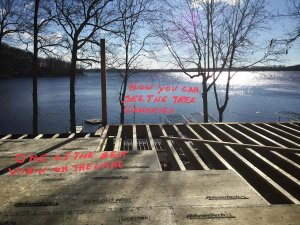 Main Level Deck sheathing installation overlooking lakefront - Modern Lakeside Retreat - Grandview Lake - Columbus, Indiana