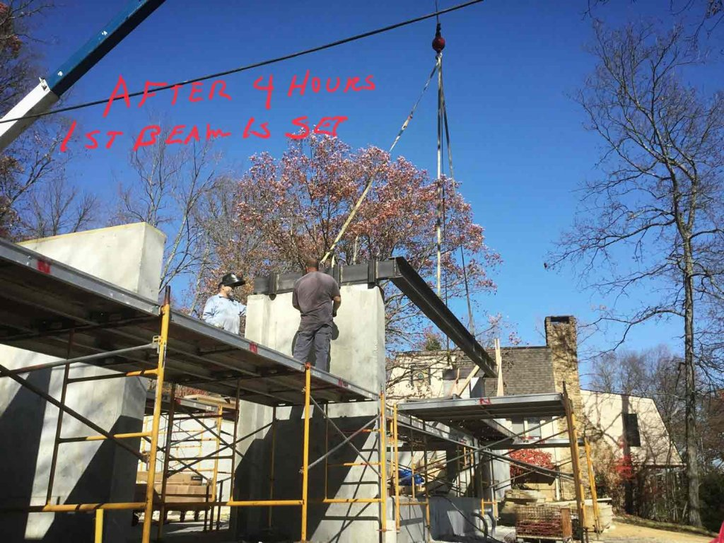 Setting Living Room Steel for Curtainwall Cantilever - Modern Lakeside Retreat - Grandview Lake - Columbus, IndianaNichter Construction (builder)