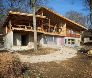 Lakeside Elevation Framing Progress - Modern Lakeside Retreat - Grandview Lake - Columbus, Indiana
