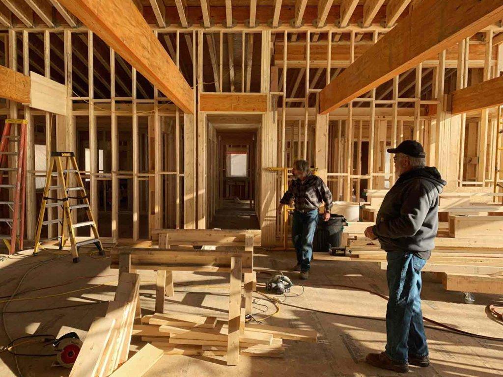 Main Living Space Framing Progress - Exposed Beams - Modern Lakeside Retreat - Grandview Lake - Columbus, Indiana