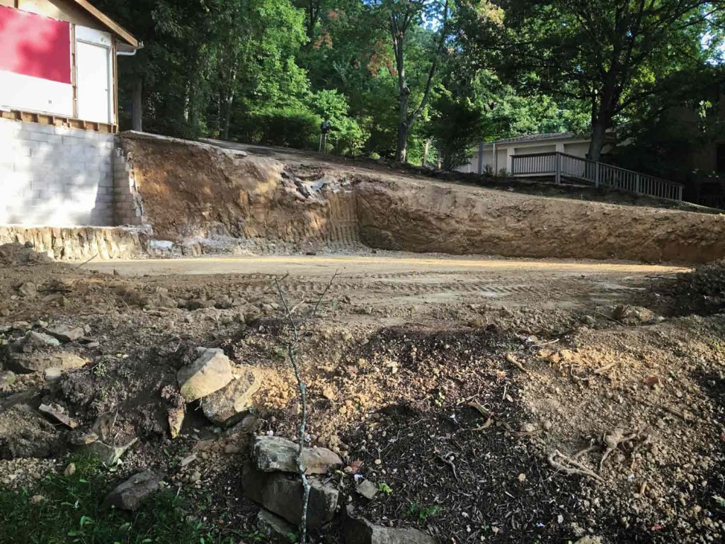 Mass Excavation Base Completed and ready for footing excavation - Modern Lakeside Retreat - Grandview Lake - Columbus, Indiana