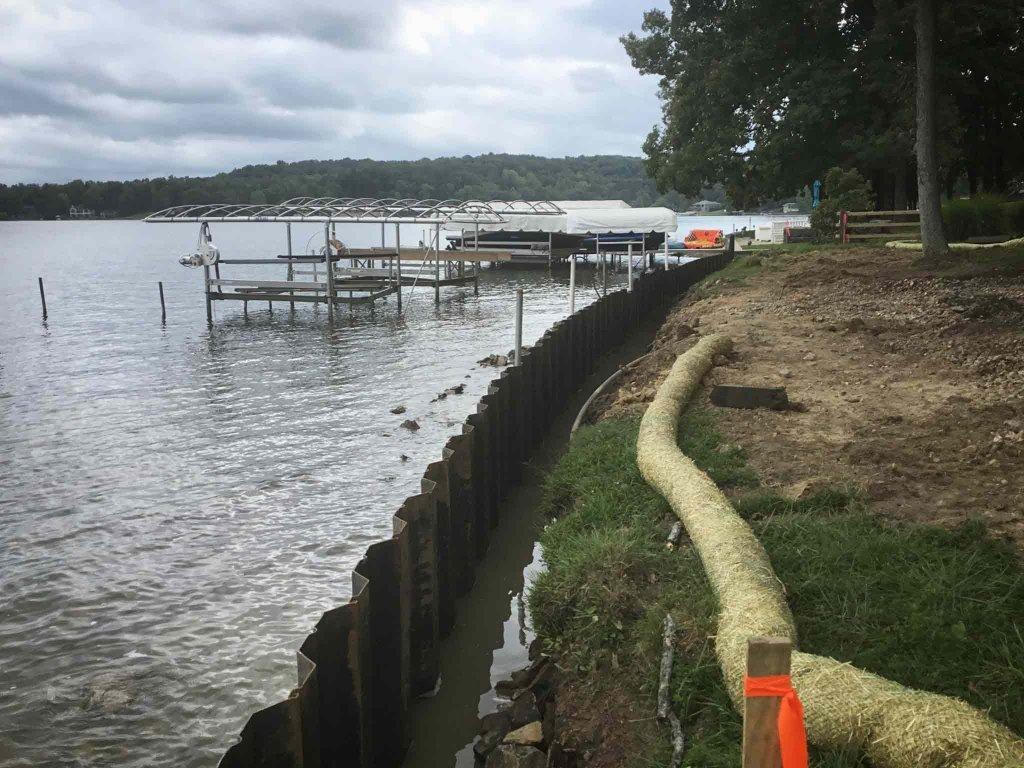 New Lakeside Retaining Wall Progress (corrugated steel) - Modern Lakeside Retreat - Grandview Lake - Columbus, Indiana