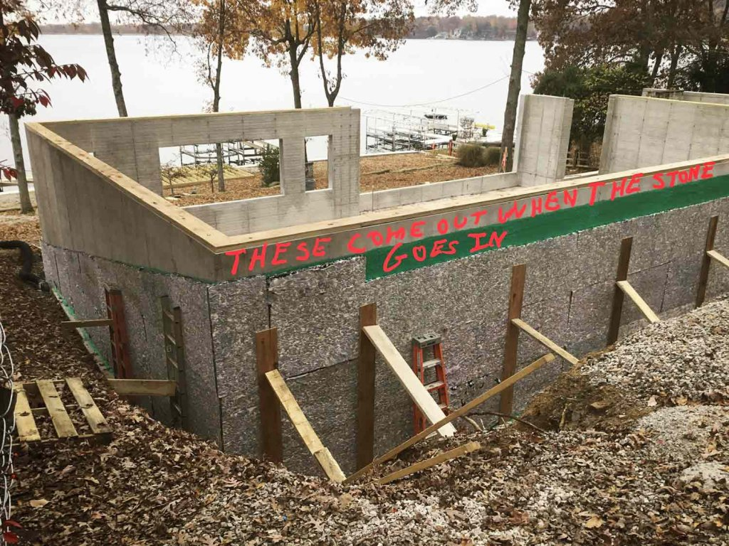 "Foundation Waterproofing Complete ""Rubber Wall"" - Modern Lakeside Retreat - Grandview Lake - Columbus, Indiana"