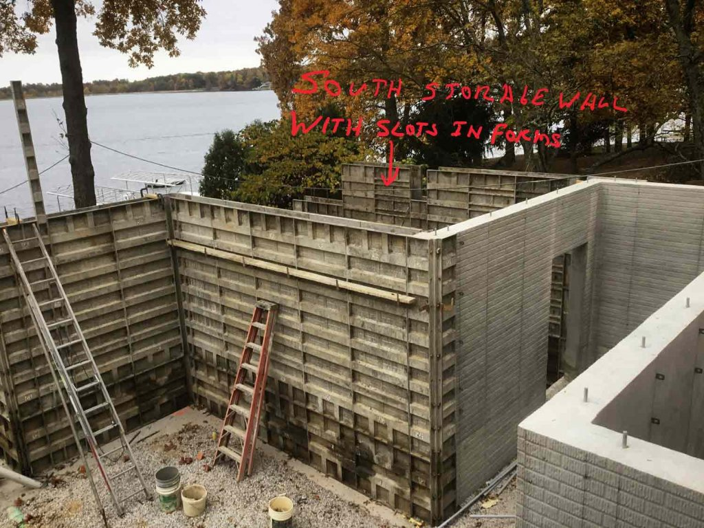 Basement Wall Forms (brick pattern only in unexposed areas) - Modern Lakeside Retreat - Grandview Lake - Columbus, Indiana