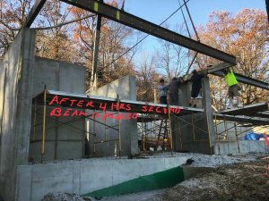 Steel Balcony Cantilever Framing Installation - Modern Lakeside Retreat - Grandview Lake - Columbus, Indiana