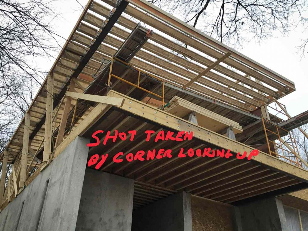Balcony and Roof Cantilever Framing Progress - Modern Lakeside Retreat - Grandview Lake - Columbus, Indiana