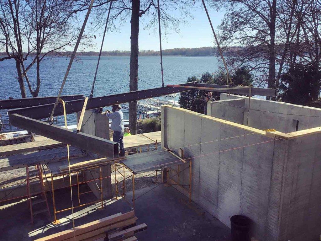 Balcony Steel Framing Installation - Crane Maneuvering - Modern Lakeside Retreat - Grandview Lake - Columbus, Indiana