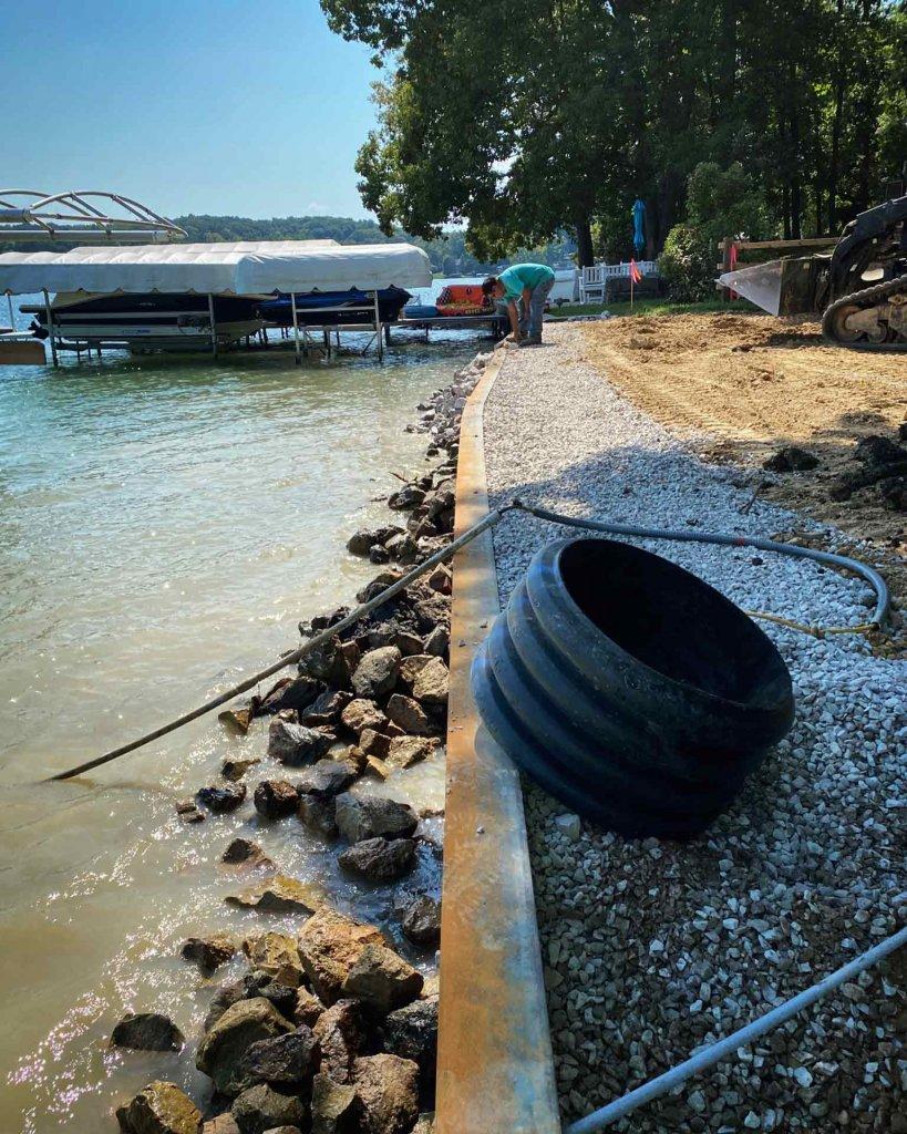New Lakefront Retaining Wall Progress - Modern Lakeside Retreat - Grandview Lake - Columbus, Indiana