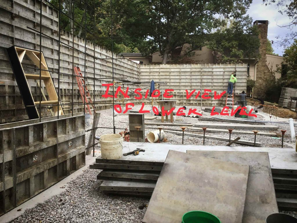 Basement Retaining Wall Foundations Underway (Formwork) - Modern Lakeside Retreat - Grandview Lake - Columbus, Indiana - HAUS | Architecture For Modern Lifestyles, Christopher Short, Indianapolis Architect - Nichter Construction (builder)