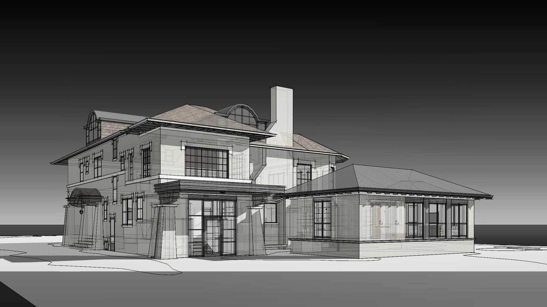 Rear Elevation-Rendering - Eclectic Italian Renaissance Addition, Washington Boulevard, Indianapolis
