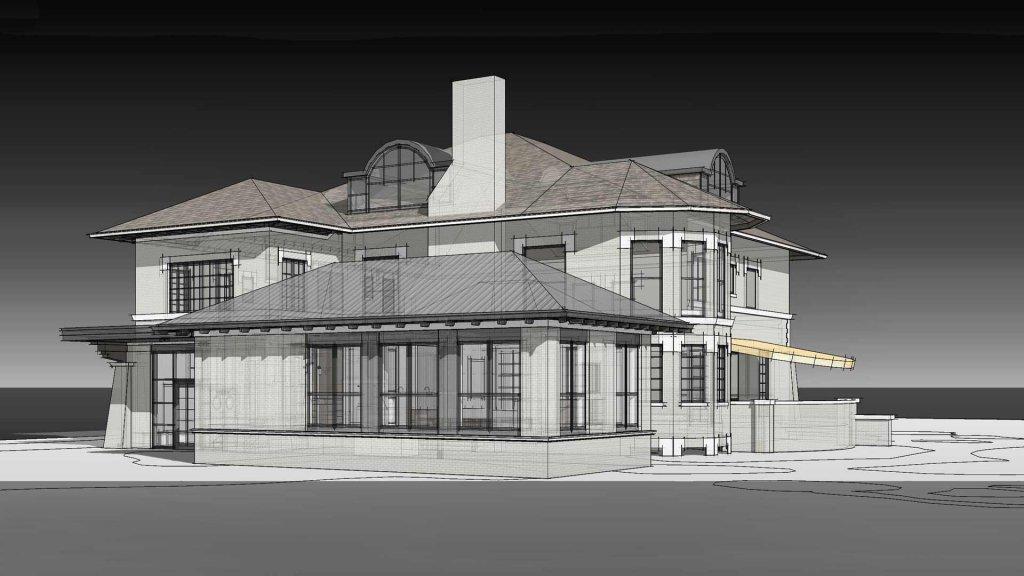 West Elevation-Rendering - Eclectic Italian Renaissance Addition, Washington Boulevard, Indianapolis