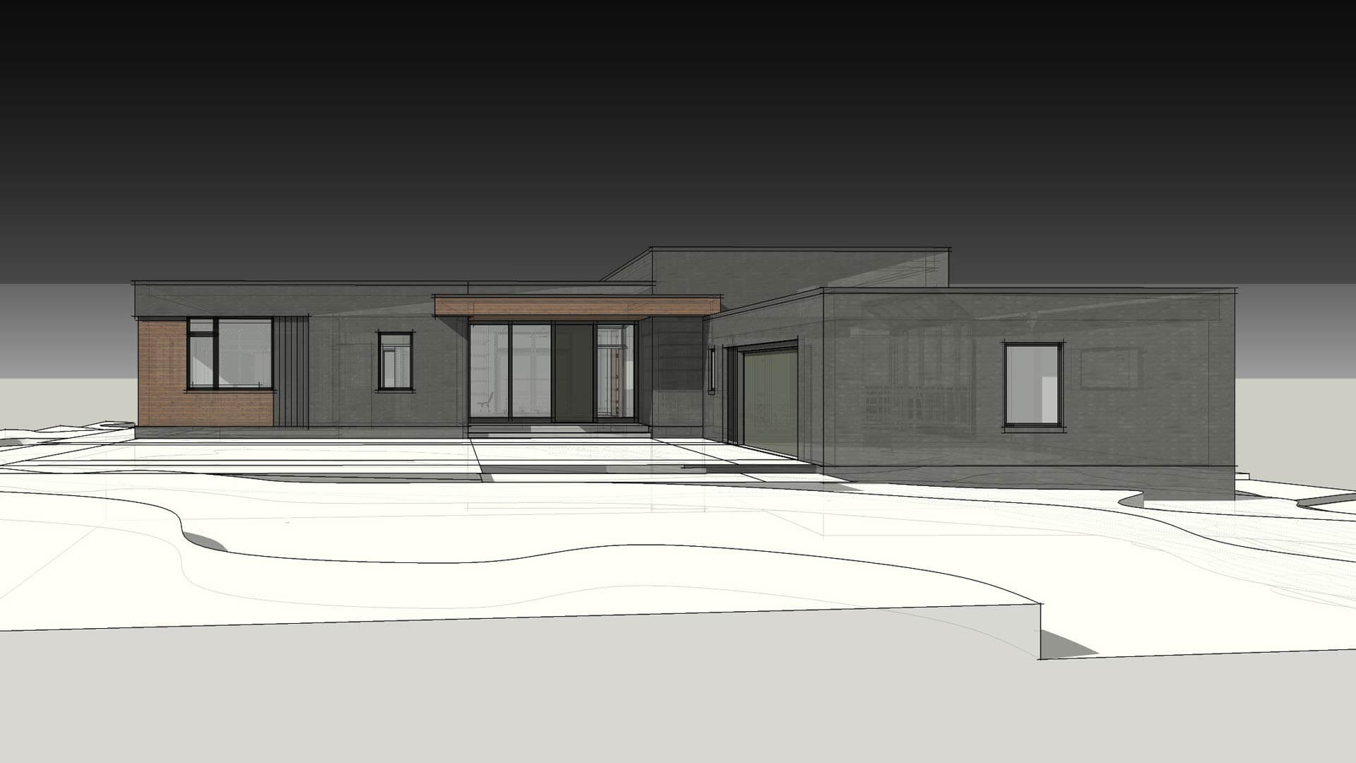 Front Exterior Elevation - Modern Brick House, Indianapolis, Windcombe Neighborhood