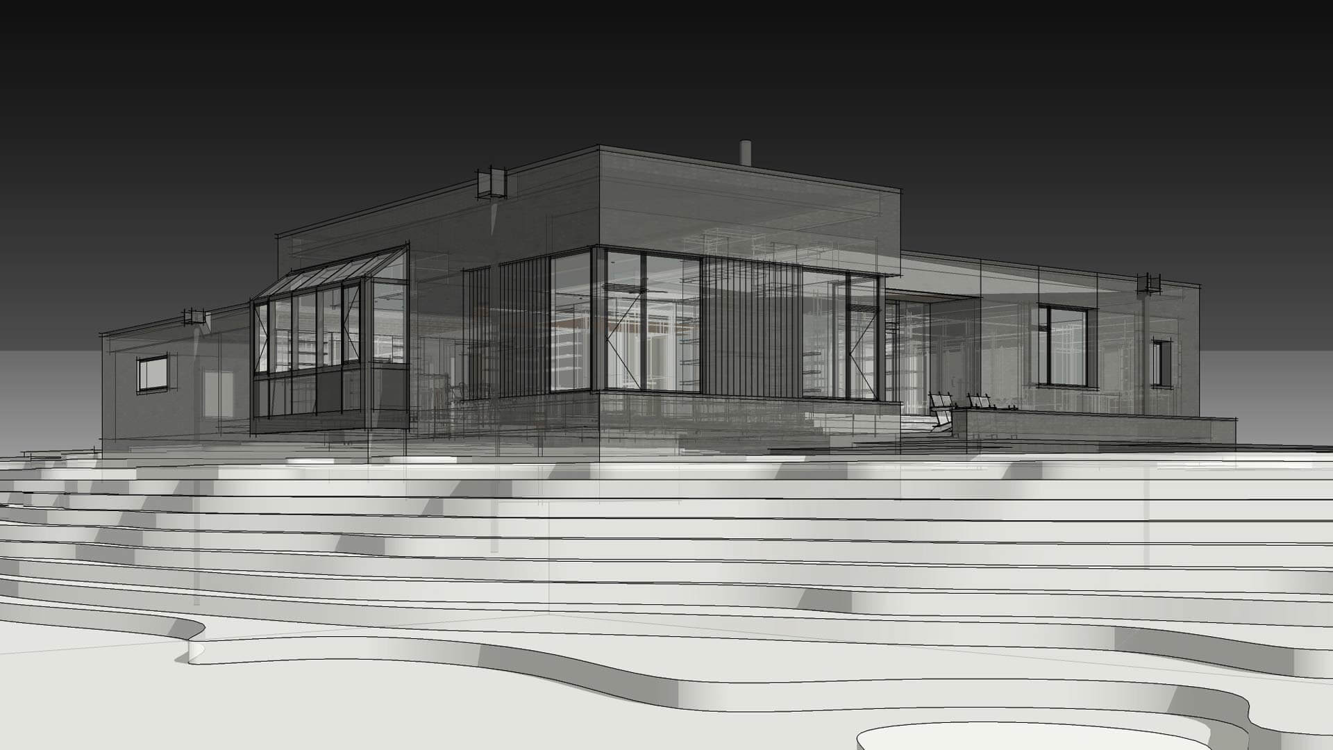 Northwest Exterior Elevation (Rendering) - Modern Brick House, Indianapolis, Windcombe Neighborhood