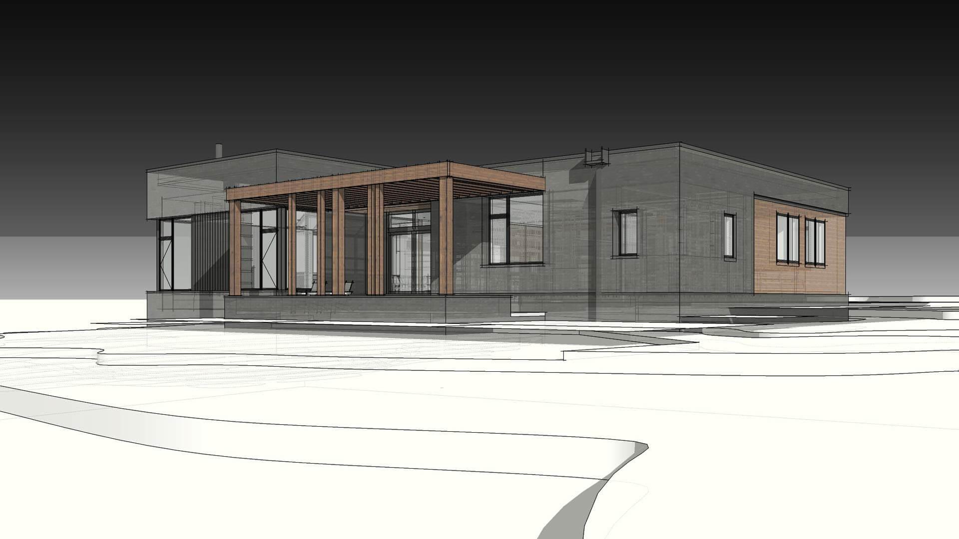 Southwest Exterior Elevation (Rendering) - Modern Brick House, Indianapolis, Windcombe Neighborhood